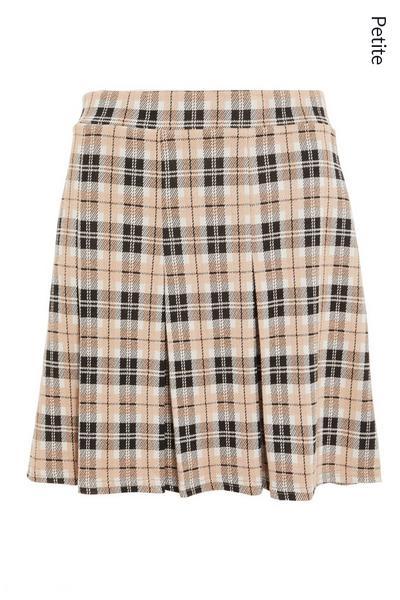 Petite Stone Check Pleated Mini Skirt